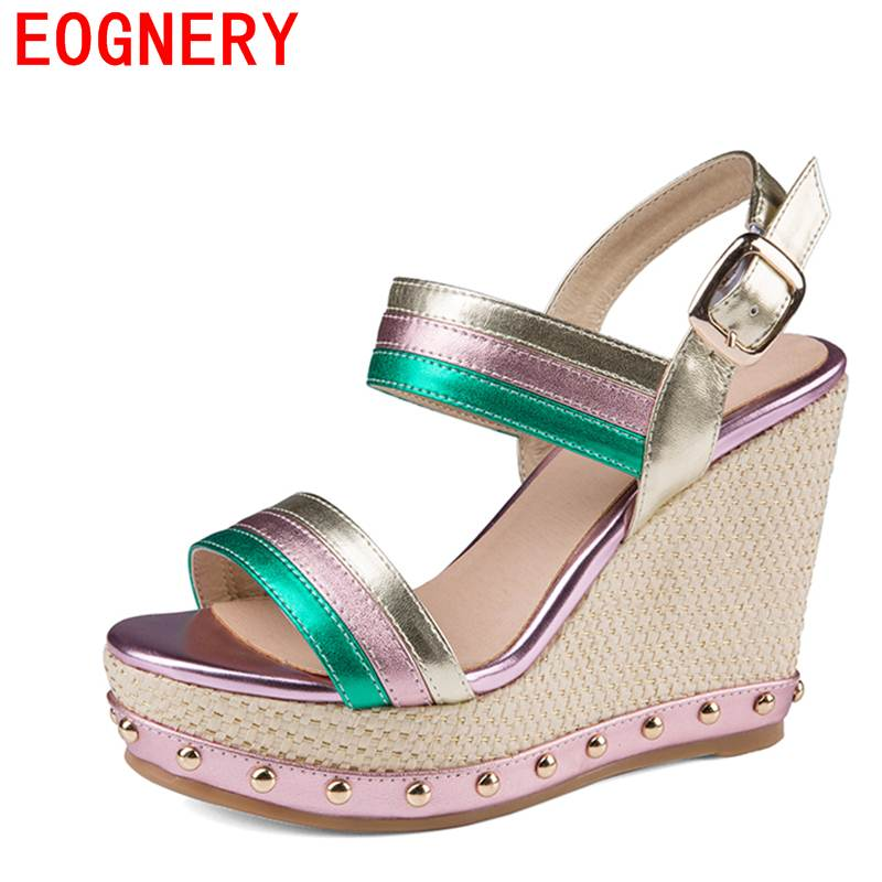 egonery casual sandals woman 2017 summer shoes lady platform wedges high heel pumps gingham party shoes genuine leather sandals phyanic 2017 gladiator sandals gold silver shoes woman summer platform wedges glitters creepers casual women shoes phy3323
