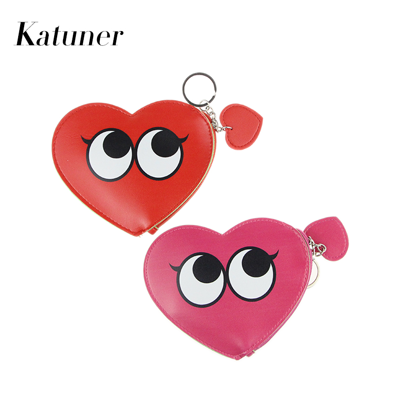 Katuner Cartoon Leather Coin Bags Cute Love Eyes Women Coin Purse For Girls Wallet Children Small Change Purse Monedero KB039