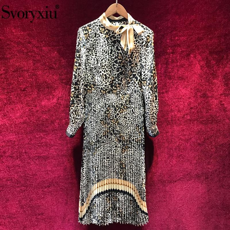 Svoryxiu Designer Autumn Vintage Leopard Pleated Long Dress Women s Elegant Bow Collar Long Sleeve Female