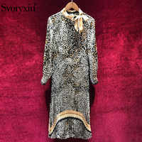 Svoryxiu Designer Autumn Vintage Leopard Pleated Long Dress Women's Elegant Bow Collar Long Sleeve Female Party Dresses Vestidos