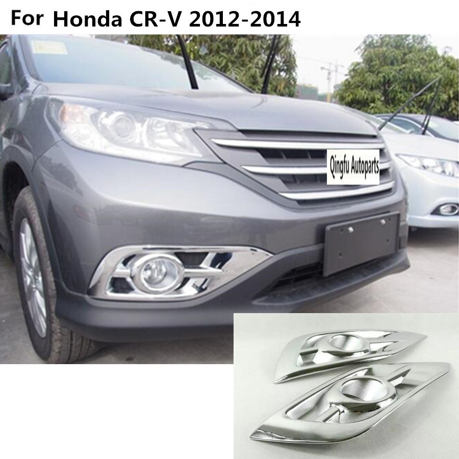 Car head front fog light lamp hood molding frame stick styling abs chrome cover trim 2pcs for honda crv cr v 2012 2013 2014