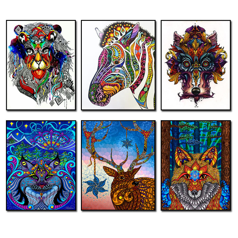 NEW DIY Diamond Painting Animal Diamond Needlework Crafts Best Full Diamond Embroidery Lover Colour Lion Horse Fox Home Decor