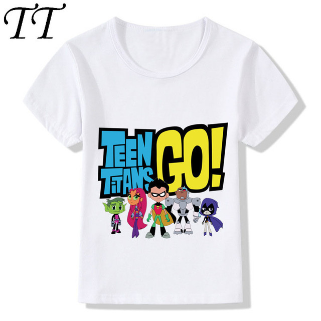 75fd4970158f Children Fashion Cartoon Teen Titans Go Design Funny T-Shirts Kids Baby Cute  Clothes Boys Girls Summer Casual Tops Tees