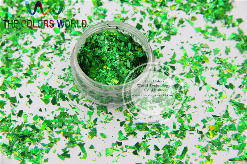TCA600 Holographic Green Color Mylar Sheet Random Cut Size Flakes ...