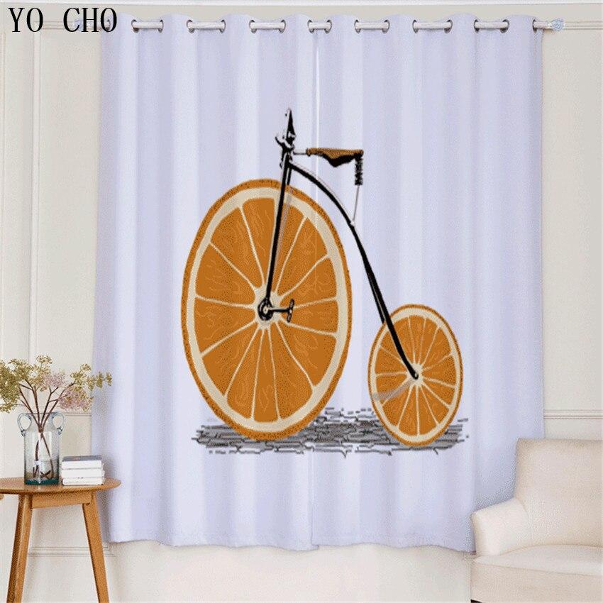YO CHO Orange vélos Style rideaux occultants pour salon chambre enfants garçons bande dessinée fenêtre ombre écrans rideau voilage