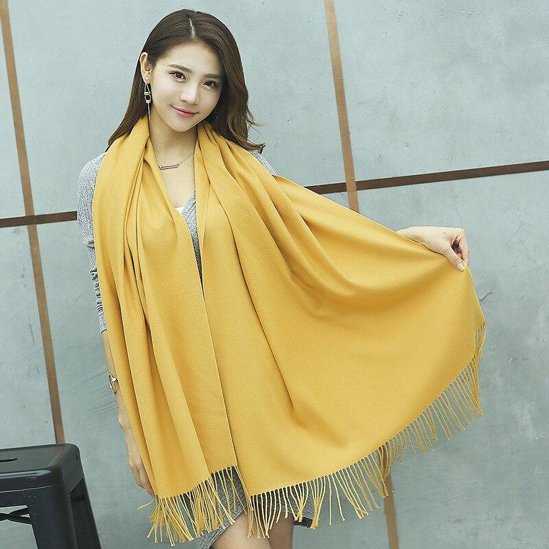 Новый стиль зимний шарф Для женщин шарф женский Чистый цвет шарф best качество кашемира Ленточки Для женщин Обертывания YR001