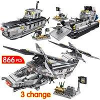 866PCS Technic Car LegoINGLYs City Swat Police Commandos DIY Assemble Military Submarine Aircraft Blocks Bricks Toys For Boys