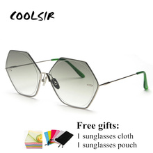 COOLSIR Gradient Lens Sunglasses Women Octagonal Brown Blue Pink Oversized Sun Glasses Female Metal High Fashion