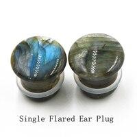 2 יחידות ברדוריט יחיד התלקח לחבר אוזן אבן זוהר תקע אוזן תכשיטי Expander פירסינג