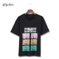 Qlychee Smile Character Print Women Top Clothing Tee Shirt Femme Short Sleeve O Neck Harajuku Street