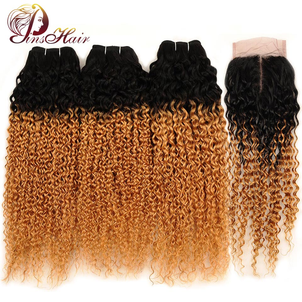 Pinshair Malaysian Ombre Jerry Curly Hair 3 Bundles With Closure 1B 27 Blonde Human Hair Weave Bundle With Closure Non Remy Hair