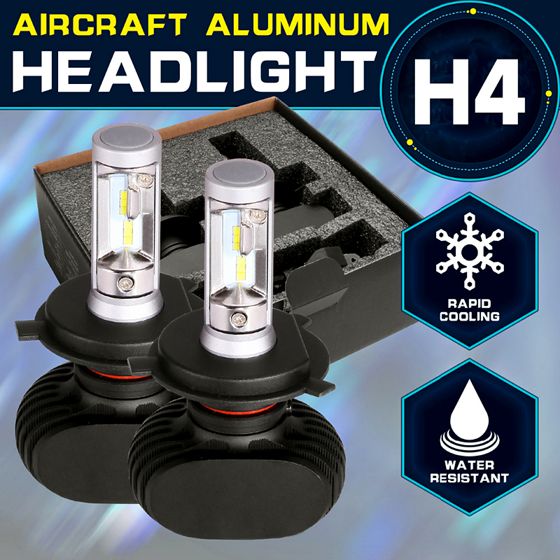 Oslamp H4 Car Bulbs 6500K All in one Hi Lo Beam H4 LED Headlights Kit 2WD 4WD Fan less Auto Head Lamps SUV 50W 8000LM CSP Chips