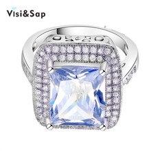Vissap high quality White Gold plated led large cz diamond fashion Jewelry Bijoux hot Wedding Rings For Women Wholesale VSR160
