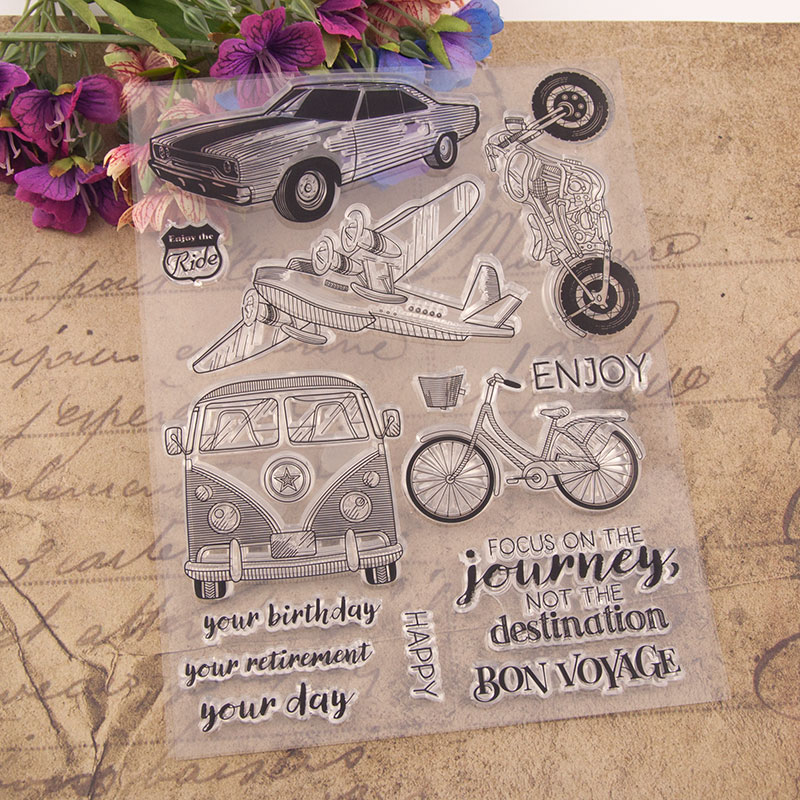 Happy Enjoy Journey Travel Rubber Clear Stamps Silicone Seals for DIY Scrapbooking Cards Making Book Paper Maker Decor Stencil in Stamps from Home Garden