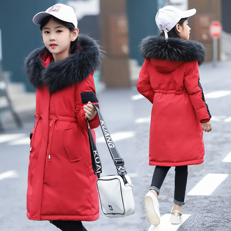 2018 children girls down jacket girl clothes thicken warm winter coat teenage long jackets raccon parka real fur hooded clothing punk style pure color hollow out ring for women
