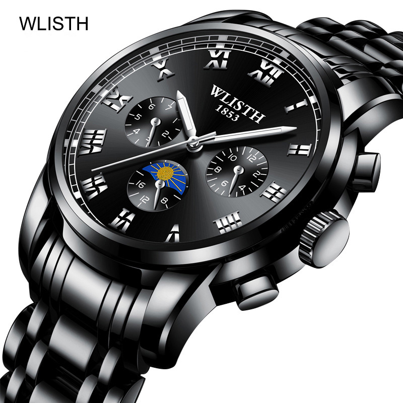 2018 Black Quartz Watch Men Watches Top Brand Luxury Male Clock Business Full Steel Men Wrist Watch montre homme relojes hombre недорго, оригинальная цена