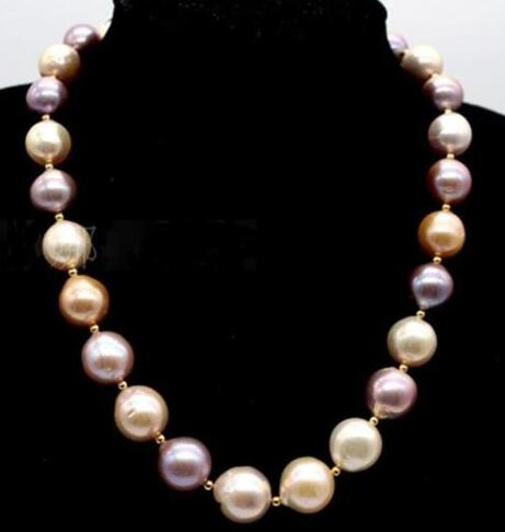 Free shipping gorgeous 12-15mm nature multicolor south sea baroque nuclear pearl necklace 18 Free shipping gorgeous 12-15mm nature multicolor south sea baroque nuclear pearl necklace 18