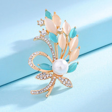 New Accessories Fashion Gold-color Wheat Brooch Rhinestone Opal Simulated-pearl Flower Brooches Pins For Women Wedding jewelry