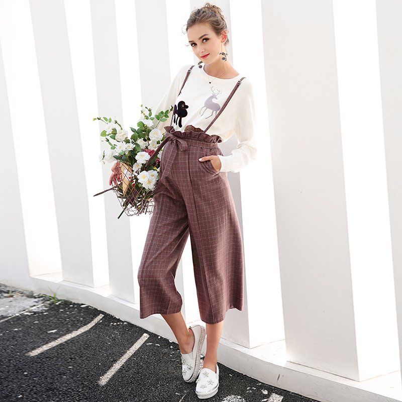 2018 spring maternity jumpsuit pants for pregnant ladies pregnancy bib pants mummy playsuit women loose fit plaid strap trousers 2017 autumn maternity bib pants pregnant trousers belt plus clothes for fat women pregnant overalls jumpsuit solid women