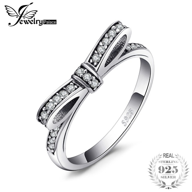 0f5d0ec30660 Jewelrypalace Cubic Zirconia Bow Knot Stackable Ring Authentic 925 Sterling  Silver Rings Fine Jewelry For Women