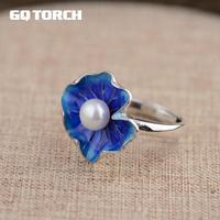 Gqtorch天然淡水真珠の指輪925スターリングシルバージュエリーエナメルフラワーグリーンとブルー色と操作feminino