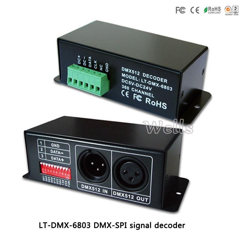 DMX-SPI Signal Led Decoder LT-DMX-6803 ,Output digital driving IC such as LPD6803,LPD1101,D705,UCS6909 for led pixel strip light цена