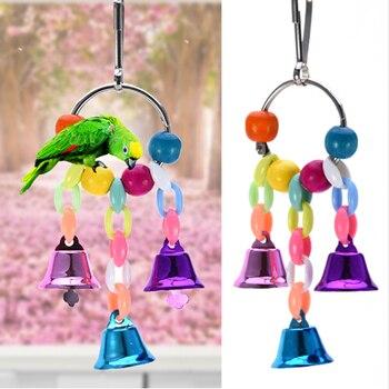 Kolorowe koraliki dzwony zabawki dla papug zawieszenie wiszące most łańcuch zwierzęta ptak papuga Chew huśtawka zabawki klatka dla ptaków przybory do dekoracji domu