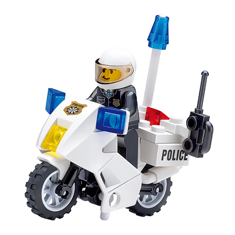 30pcs Boys Motor Police Motorbike Blocks Toy Children Assembled Motorcycle Building Blocks Bricks Kids Toys DIY Gifts K2566-6734 police pl 12921jsb 02m