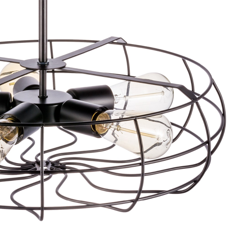 Vintage 5Heads E27 E26 Ceiling Lights  Black Iron Retro Industrial Fan Ceiling Lights American Country Kitchen Loft Ceiling Lamp for Bar Loft Decor  (2)