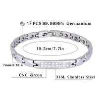 Hottime 316L Stainless Steel Lady Health Healing Magnetic 99 9999 Germanium Bracelet Bio Energy Bracelets Bangles