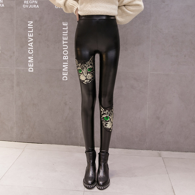 #0518 Autumn Black Faux Leather Pants Women Sequin Cat Elastic PU Leggings Women Fitness Leggins Push Up Pencil Pants S-XXL