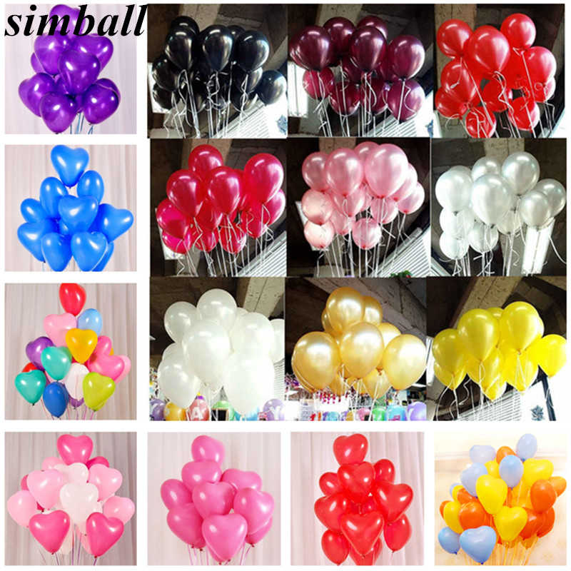 10pcs Pink Latex Helium Balloons 10 Inches Heart Balloons Inflatable Wedding Decorations Air Balls Happy Birthday Party Supplies