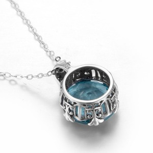 Image 4 - Szjinao Aquamarineสร้อยคอหินจี้เงินแท้ 925 พลอยจี้สำหรับเครื่องประดับสตรีVINTAGE Handmadeของขวัญ