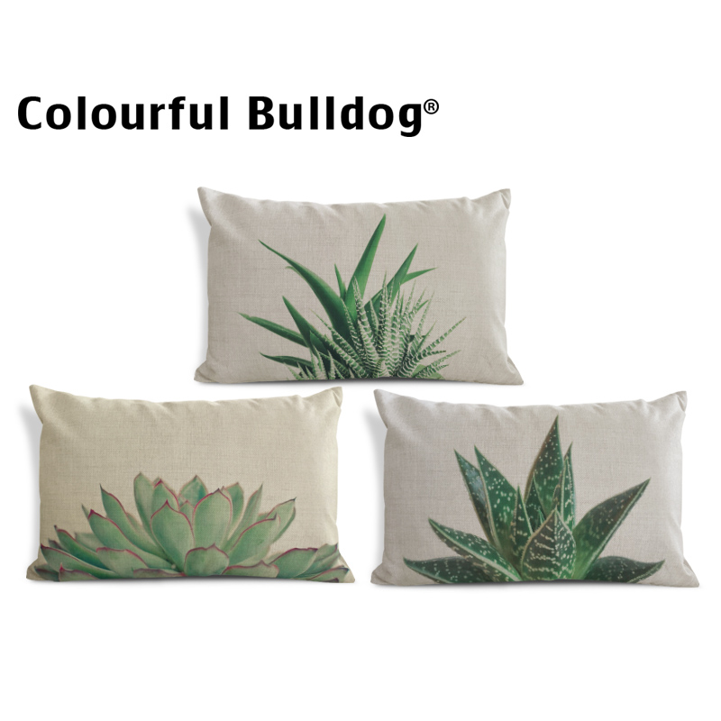Plant Monstera Cushion Cover Succulents Pillowcase Baroque Lounger Chair For Living Room Throw Pillow Cushion Blue 30X50Cm Linen