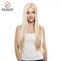 Synthetic Lace Front Wigs Long Women's Peruka blond Wig Silk Straight Highlight Wigs Natural Glueless Hair With Free Parting
