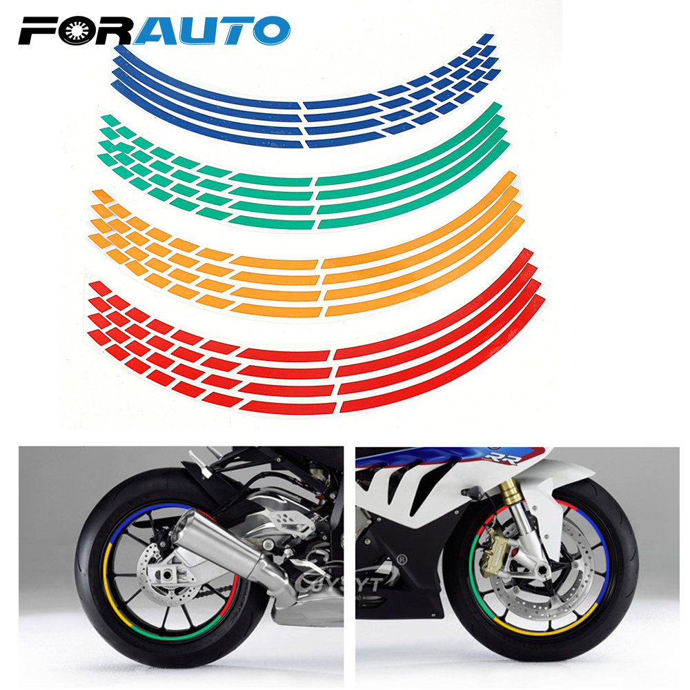 16 Strips Car Styling Wheel Rim Sticker Reflective Motorcycle Accessories 7 Colors Tape 17 or 18 inch Car Stickers Decoration