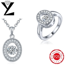 New Fashion 925 Sterling Silver Cubic Zirconia Rings & Necklace Bridal Jewelry Sets with Dancing CZ Diamond Long for Women