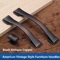 160mm 128mm estilo vintage armário de cozinha dresser gaveta do armário puxe maçanetas maçaneta da porta cobre antigo preto estilo Americano ORBE