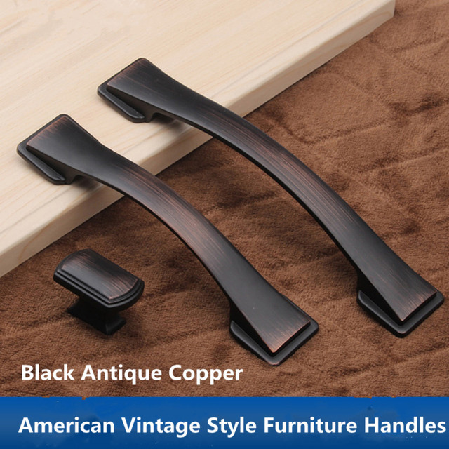 160mm 128mm Vintage Style Dresser Kitchen Cabinet Door Handle Black