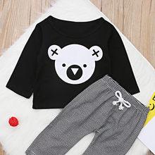 ff199b574 Conjunto de ropa para niños marca de dibujos animados Koala camiseta Tops +  rayas 100% algodón Pantalones Bebé niños ropa bebé r.