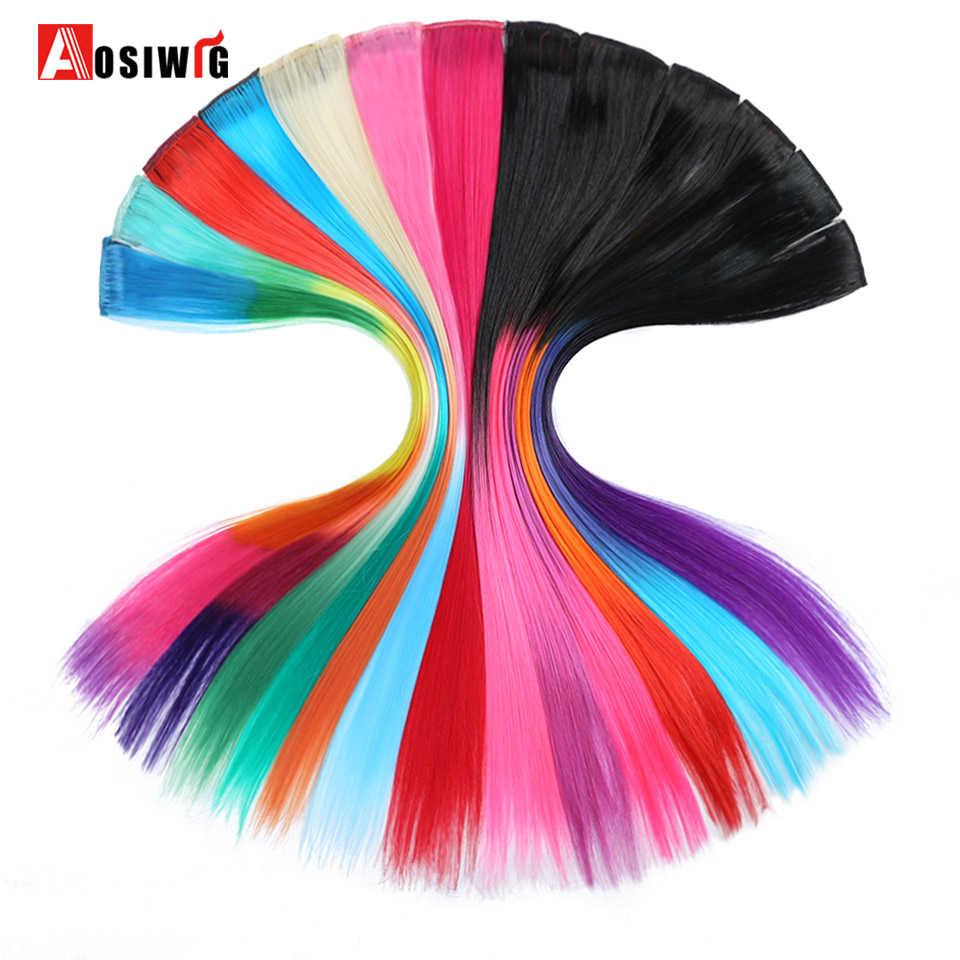 AOSIWIG 1 קליפ חתיכה אחת טהור צבע אדום ורוד סגול 19 צבעים ארוך ישר סינטטי עמיד בחום שיער הרחבות