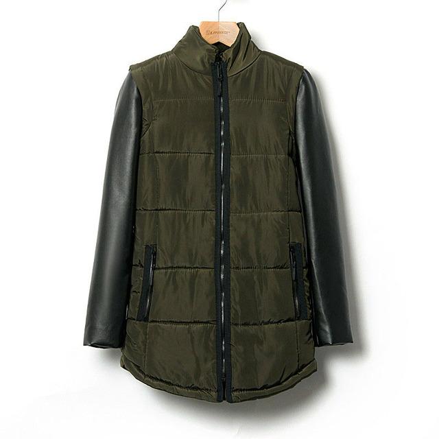 Primavera da mulher moda malha couro patchwork de médio - longo amassado jaqueta feminina de algodão acolchoado jaqueta outerwear espessamento