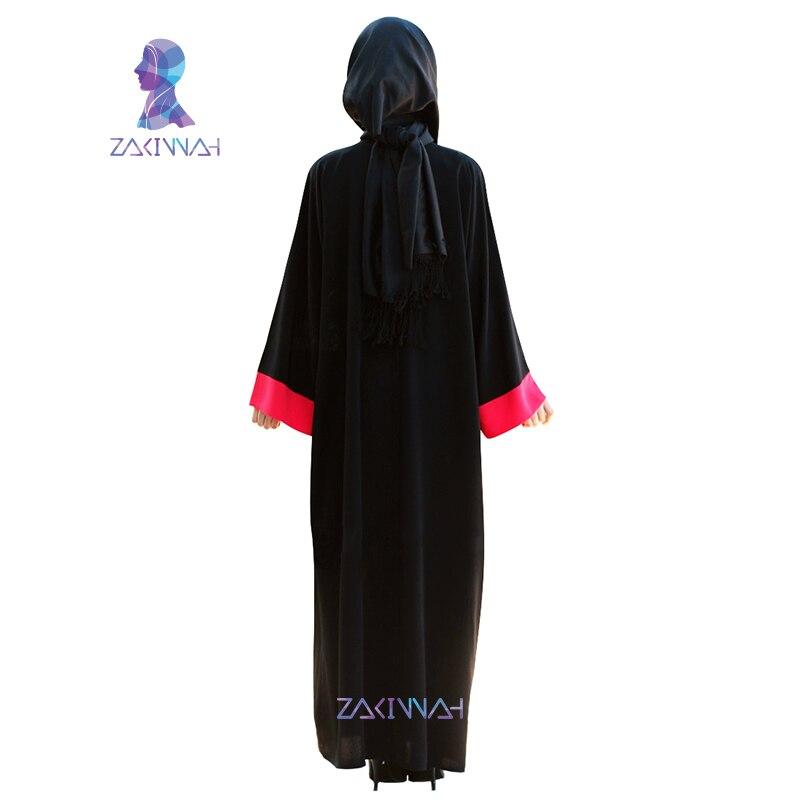 Zakiyyah Žene Abayas Šifon crni dugi rukav muslimanski caftan - Nacionalna odjeća - Foto 4