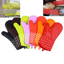 1Psc Home Kichen Oven Gloves Food Grade Silicone Insulation 300 Degrees Resistant Heat Insulated Glove Microwave Grill