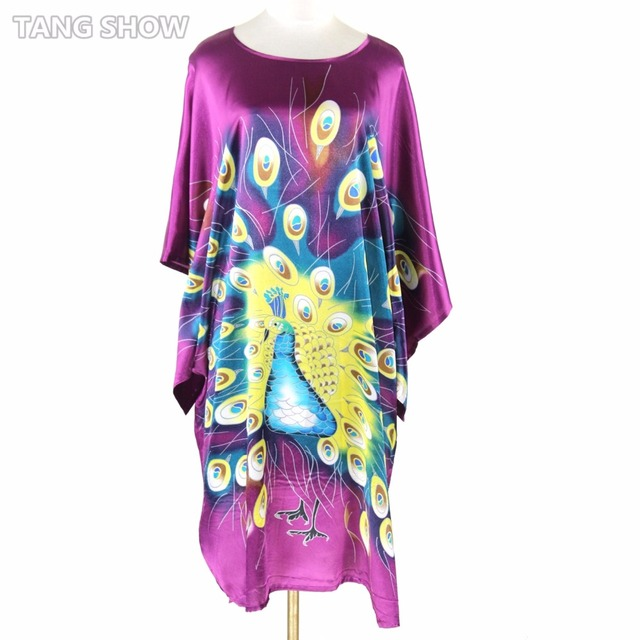 Summer New Purple Chinese Style Silk Rayon Robe Women's Sexy Loose Home Dress Vintage Kaftan Bath Gown Pajamas Plus Size RB051