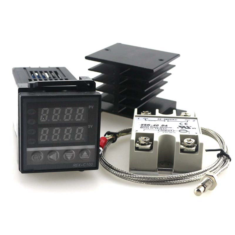 Dual Digital PID Temperature Controller Thermostat Kit REX-C100 with SSR-40DA + heat sink + 2m quality K probe
