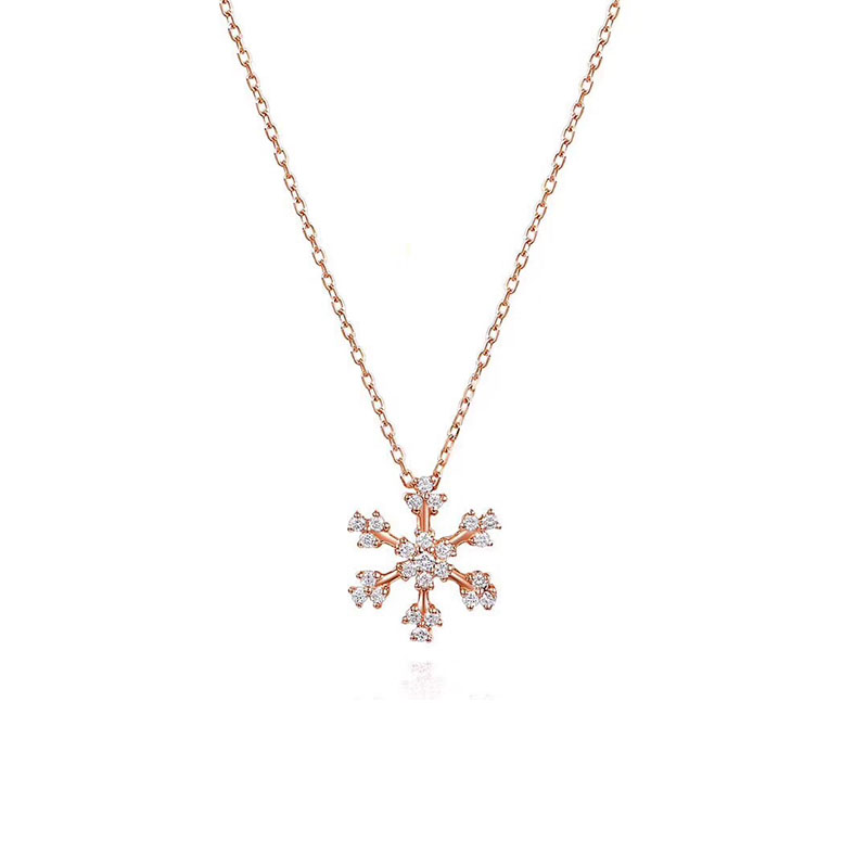 ANI 18K Rose Gold (AU750) Cross Pendant 0.159ct I-J/SI Certificate Real Natural Diamond Snow Shape Women Gold Chain Necklace real 18k rose gold 1 2 carat ct def color lab grown moissanite diamond pendant necklace chain for women charm jewelry