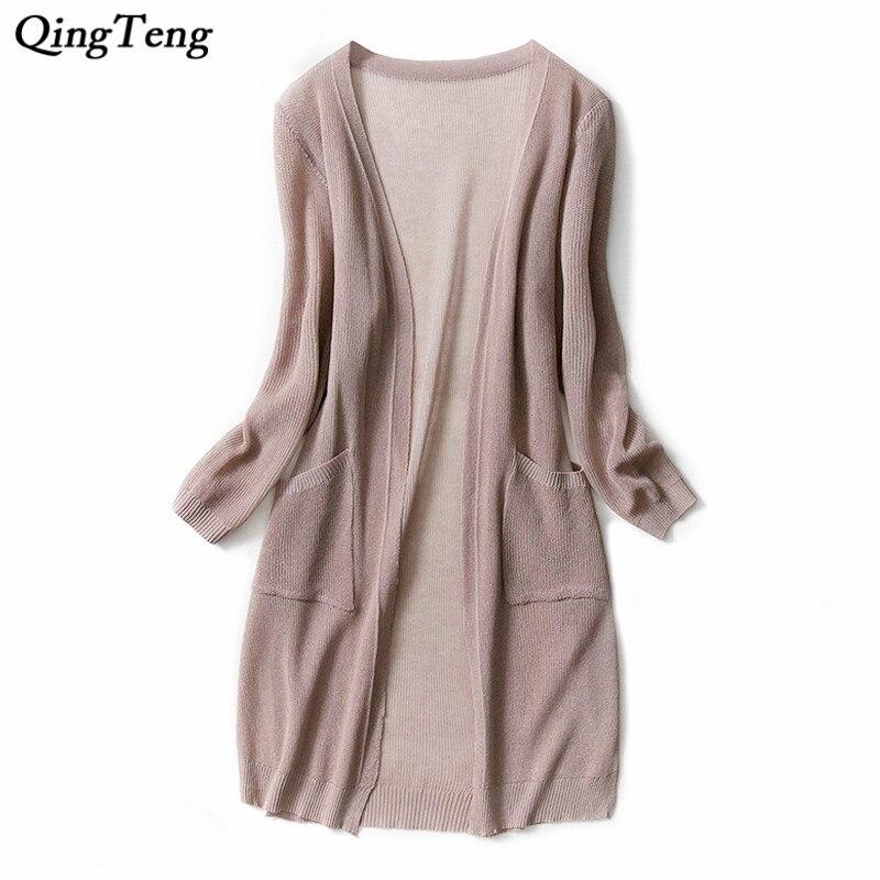 Spring Summer Thin Sweater Cardigans Women Slim open Pockets Knit Long Cardigan Jacket Plus Size coat