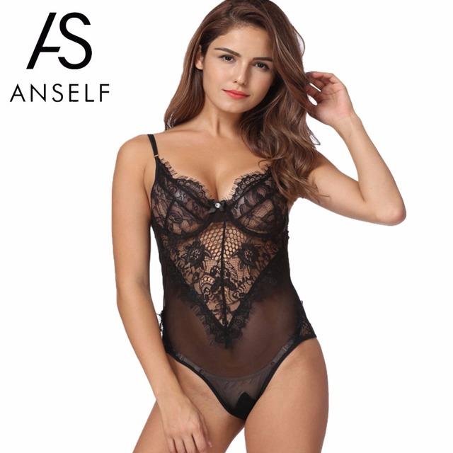 7e54bd03fc1 Sexy Lace Bodysuit Women Sheer Lace Mesh Romper Jumpsuit Hot Erotic  Sleepwear Underwear Black White