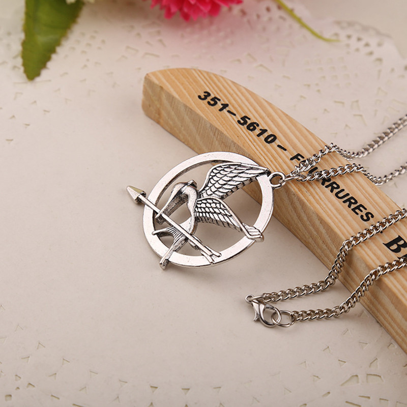 Three-Color Necklace Hunger Game Pendant Necklace Ridicule Bird Necklace,Bronze
